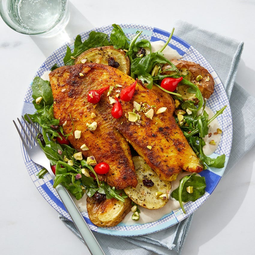 Shawarma-Spiced Tilapia with Roasted Potato & Arugula Salad