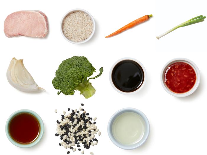 Seared Pork & Sweet Chili Glaze with White Rice & Sautéed Vegetables