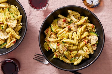 Creamy Pesto Cavatelli with Mushrooms & Spicy Breadcrumbs