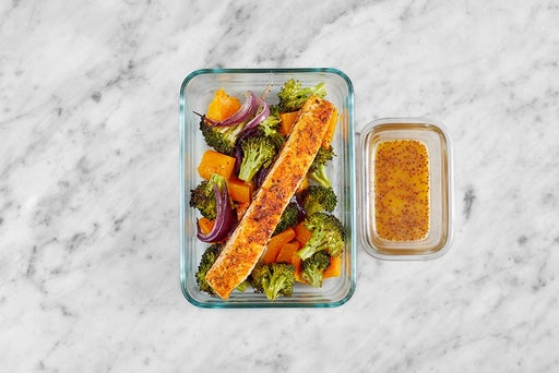 Assemble & Store the Spicy Maple-Mustard Salmon