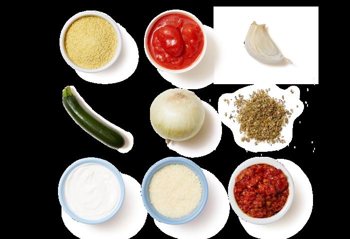 Creamy Polenta & Spicy Tomato Sauce with Zucchini & Greek Yogurt