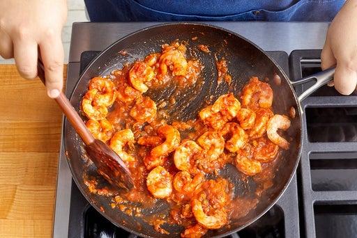 Cook the shrimp & sauce