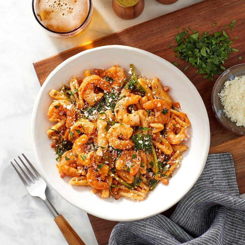Shrimp & Pancetta Cavatelli Pasta with Spinach, Raisins & Romano