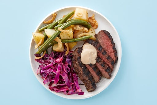 Finish & serve the Creamy Balsamic Steak & Potatoes