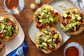 Mexico City Chicken Tinga  Tostadas with Avocado & Black Beans