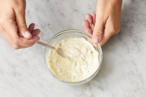 Make the tartar sauce & serve your dish: