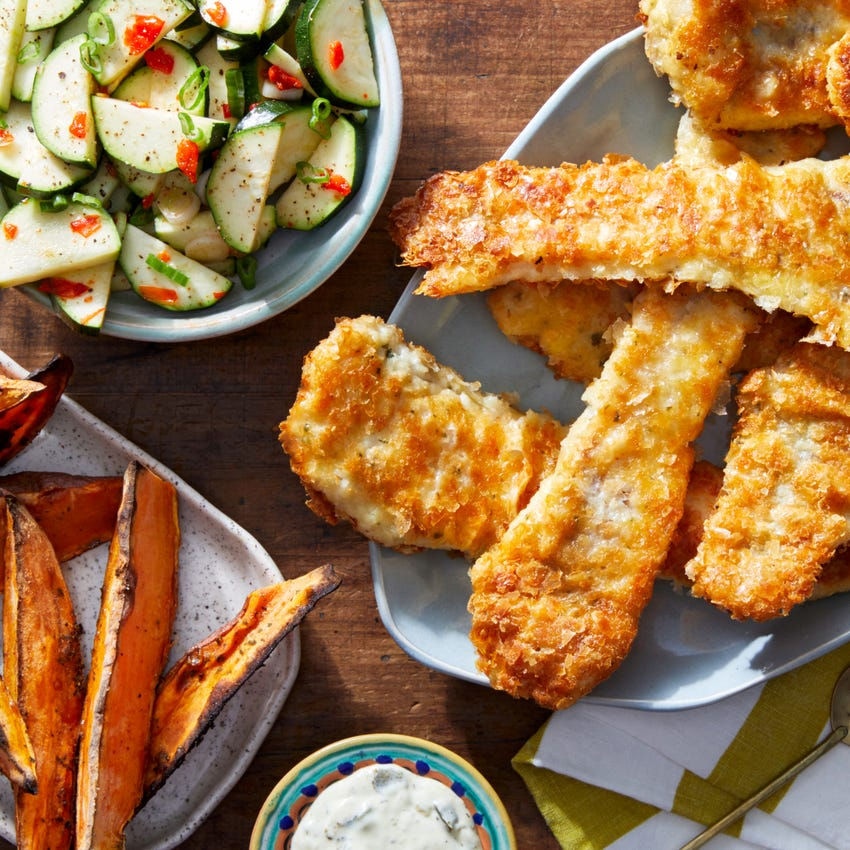 Crispy Fish & Tartar Sauce with Marinated Zucchini & Sweet Potato Fries