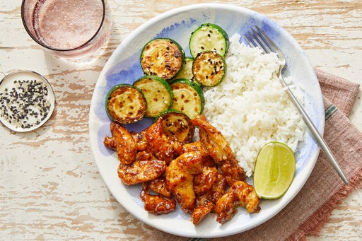 Sichuan Crispy Chicken with Lime Rice & Sesame Zucchini