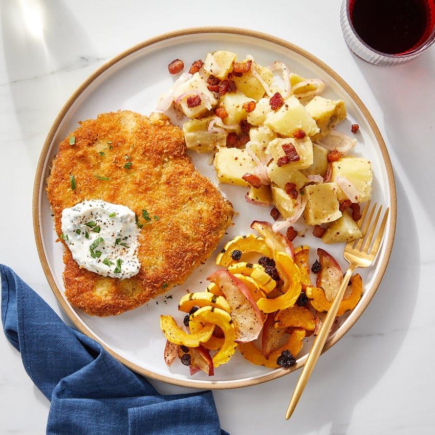 Pork Schnitzel & Pancetta-Potato Salad with Baked Squash & Apple