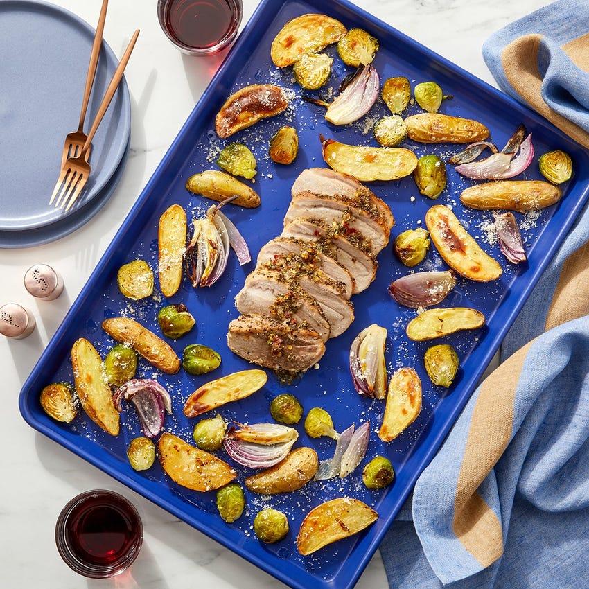 Sheet Pan Italian Pork Roast with Fingerling Potatoes, Brussels Sprouts & Hot Honey Dressing