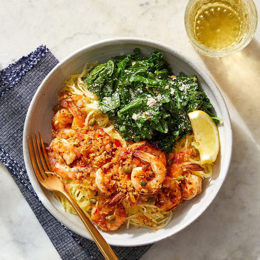Calabrian Shrimp & Spaghetti Squash with Capers, Kale & Breadcrumbs