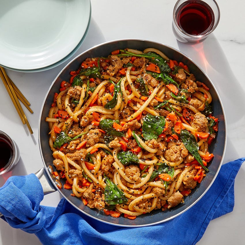One-Pan Gochujang Pork Udon with Carrots, Spinach & Sesame Seeds