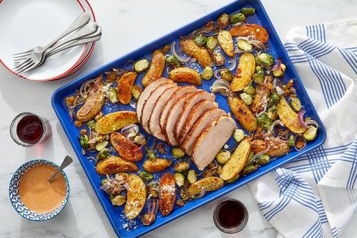 Sheet Pan Romesco Pork Roast with Brussels Sprouts & Fingerling Potatoes