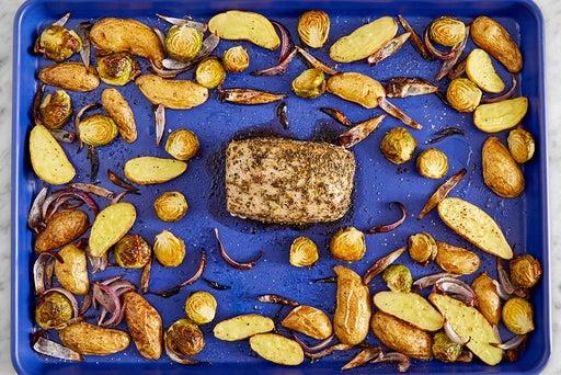Roast the pork & potatoes