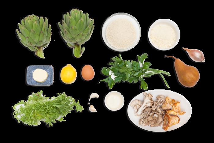 Stuffed Artichokes  with Maitake & Chanterelle Mushroom Salad
