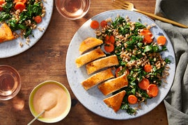 Baked Harissa Chicken with Farro & Vegetable Salad