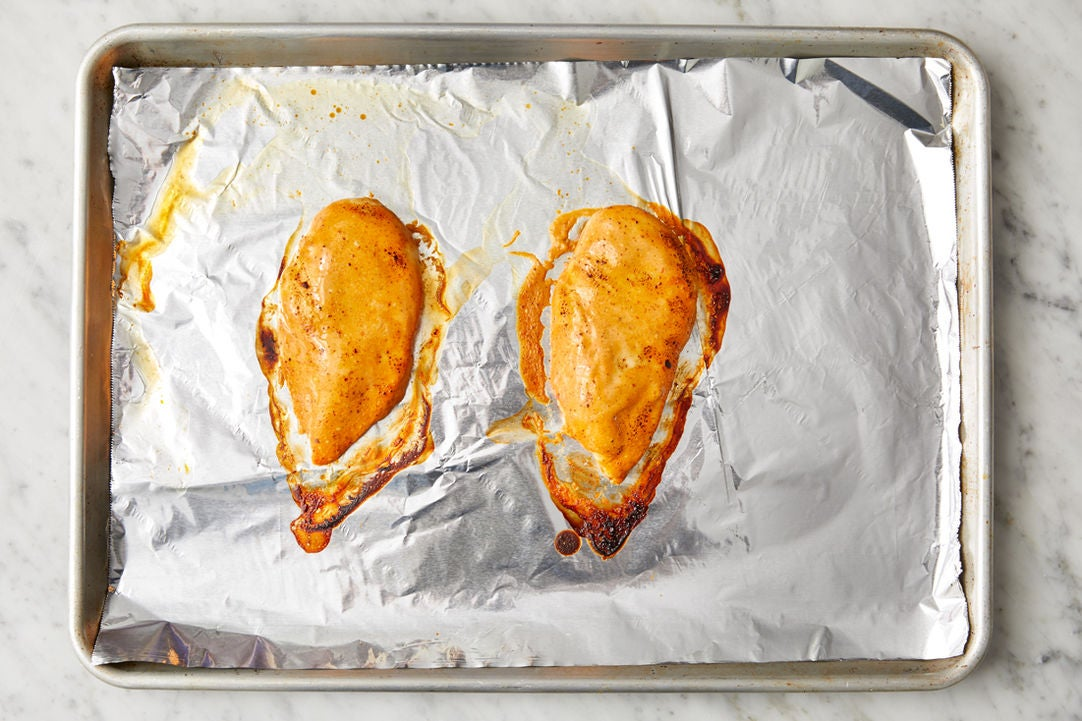 Make the sauce & bake the chicken: