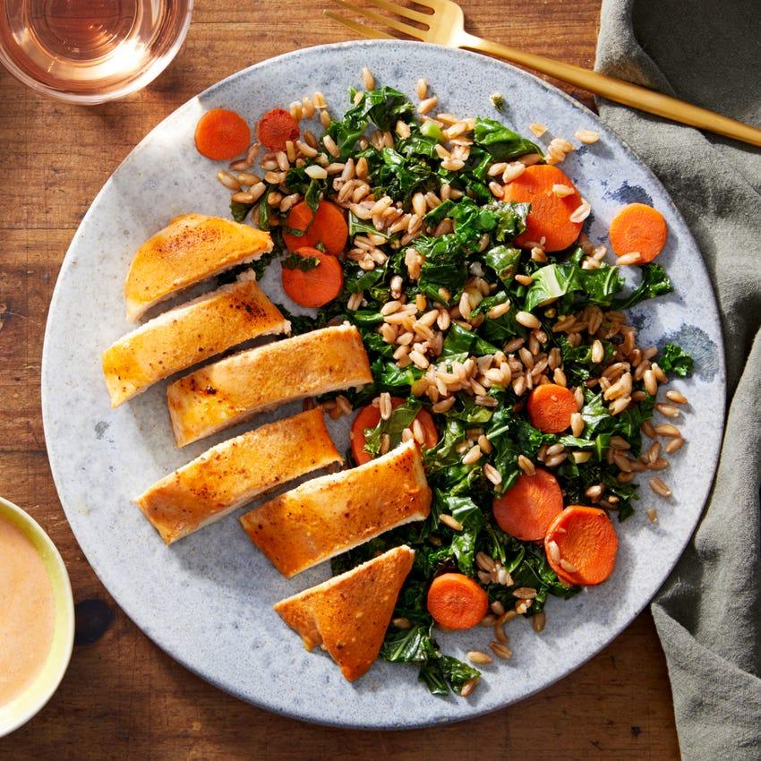 Baked Harissa Chicken with Farro & Vegetable Salad