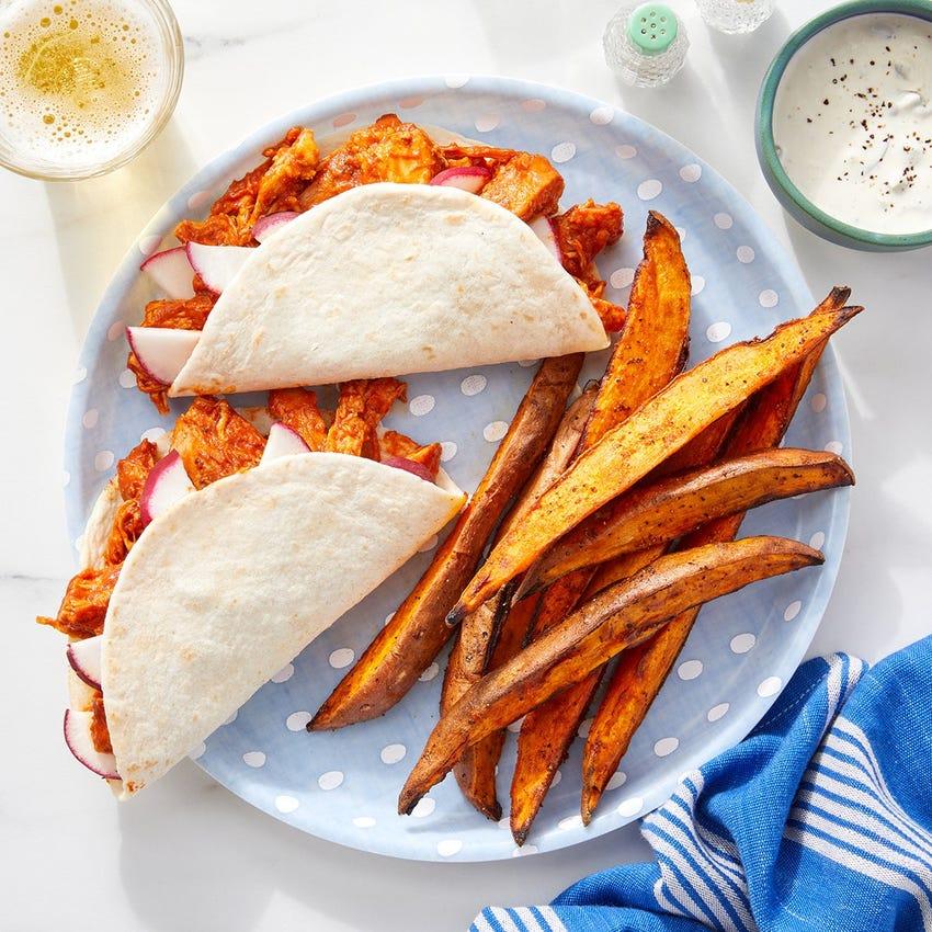Shredded Guajillo Chicken Tacos with Smoky Sweet Potato Wedges