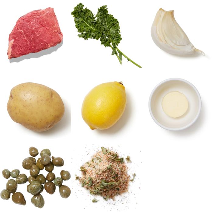 Seared Steaks & Lemon-Caper Butter with Oven Fries & Sautéed Kale