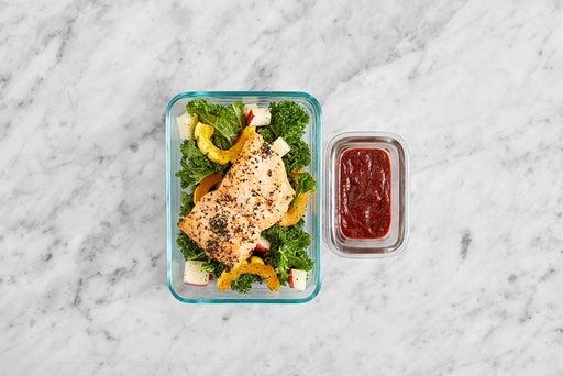 Assemble & Store the Oregano Salmon & Kale Salad