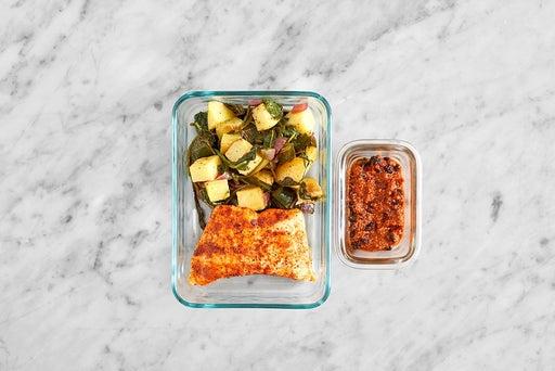 Assemble & Store the Spanish Salmon & Vegetables