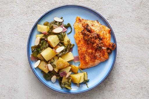 Finish & Serve the Spanish Salmon & Vegetables