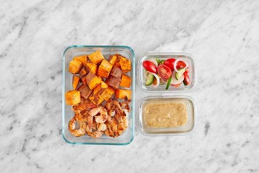 Assemble & store the Shrimp Pitas & Marinated Veggies