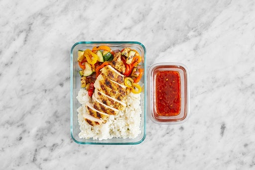 Assemble & store the Spicy Sweet Chili Chicken