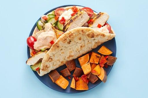 Finish & serve the Chicken Shawarma Pitas