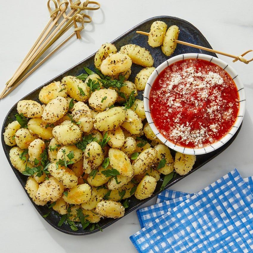 Crispy Garlic Gnocchi with Spicy Tomato Sauce