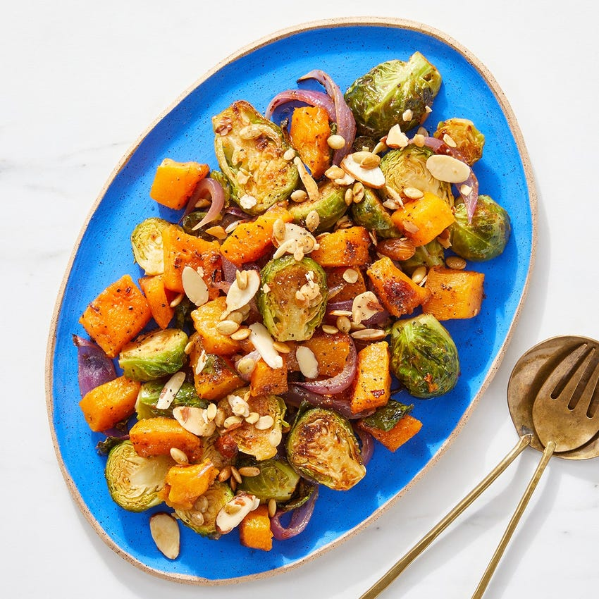 Roasted Brussels Sprouts & Squash with Hot Honey Vinaigrette