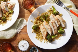 Foil Packet Lemon Chicken with Freekeh, Broccoli, & Olive Salad