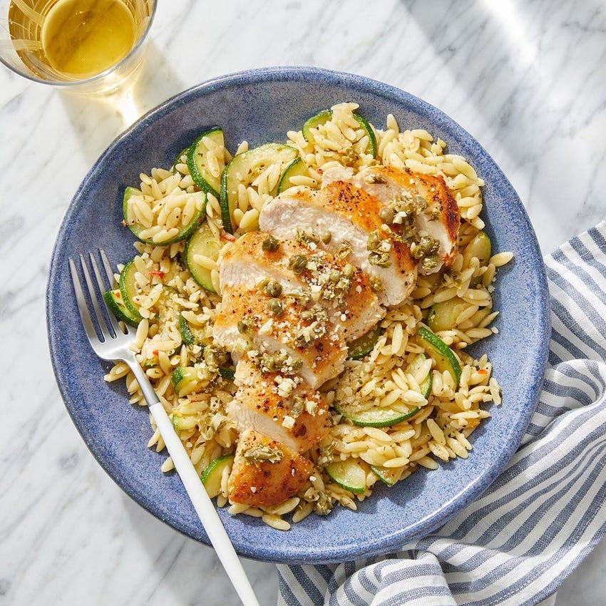Garlic-Caper Chicken with Orzo & Zucchini