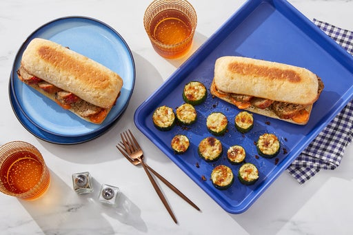 Sheet Pan Calabrian Pork Meatloaf Sandwiches with Cheesy-Garlic Zucchini