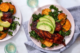 Sweet & Smoky Seared Tilapia with Kale Salad & Roasted Sweet Potatoes