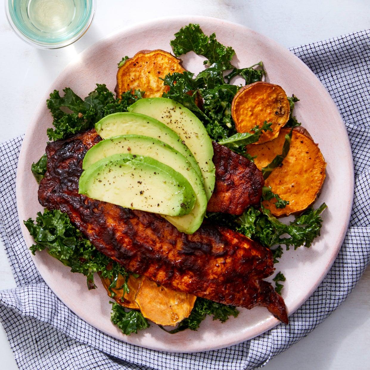 Sweet & Smoky Seared Tilapia with Kale Salad & Roasted Sweet Potatoes