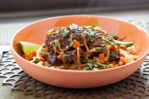 Ethiopian Berbere Chicken Thighs with Green Beans & Parsley-Lime Couscous