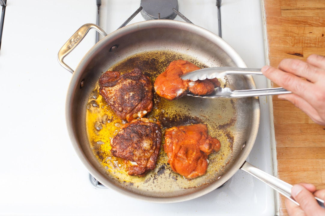 Sear the chicken: