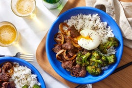 Tokyo Beef & Rice Bowls with Soft-Boiled Eggs & Roasted Broccoli