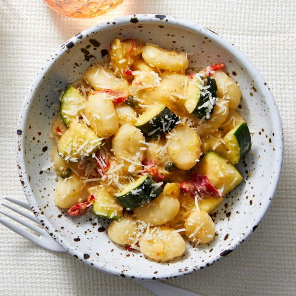 Gnocchi & Yellow Tomato Sauce with Zucchini & Roasted Red Peppers