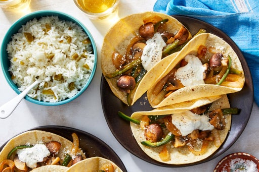 Poblano Pepper & Mushroom Tacos with Jalapeño-Lime Rice