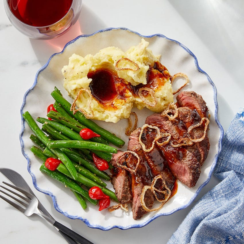 Seared Steaks & Crispy Shallot with Mashed Potatoes & Maple-Soy Pan Sauce