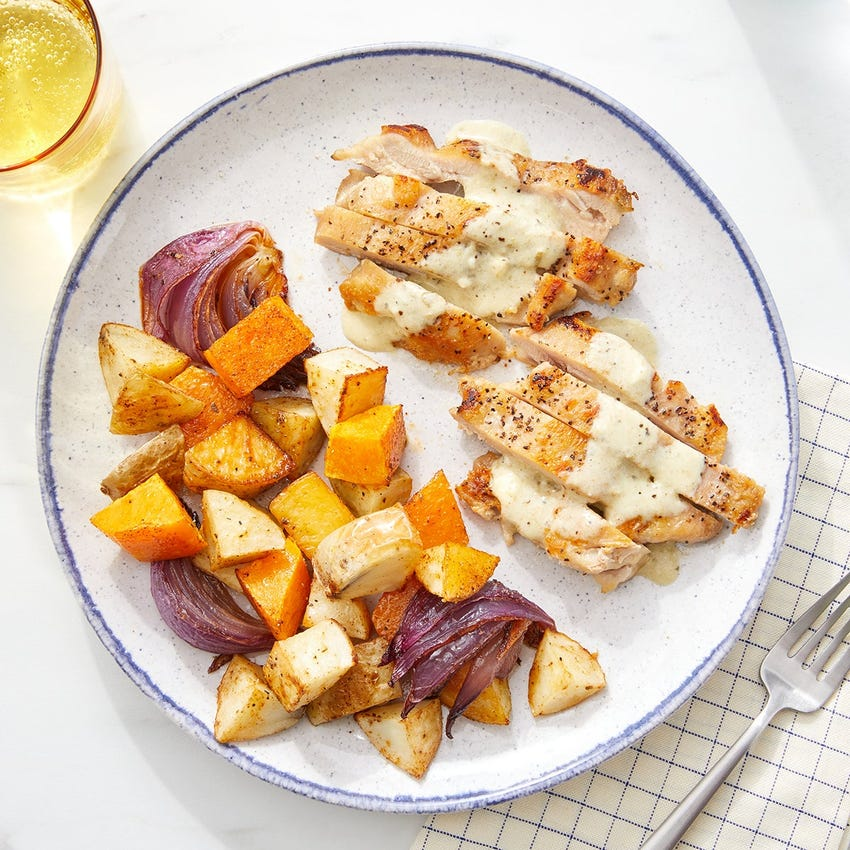 Tomatillo-Poblano Chicken Thighs with Roasted Butternut Squash & Potatoes