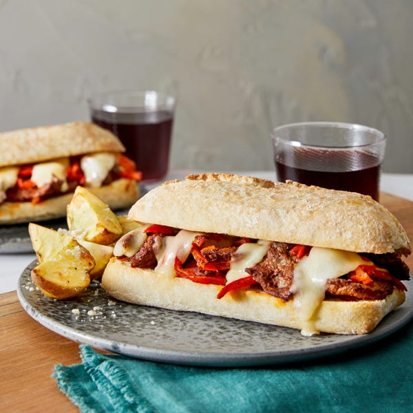 Italian Beef & Sweet Pepper Subs with Roasted Potatoes