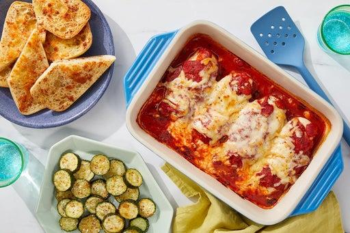 Oven-Baked Cheesy Chicken with Garlic Bread & Zucchini