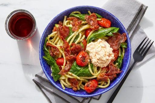 Prosciutto Pesto Pasta & Spicy Ricotta with Tomatoes & Spinach