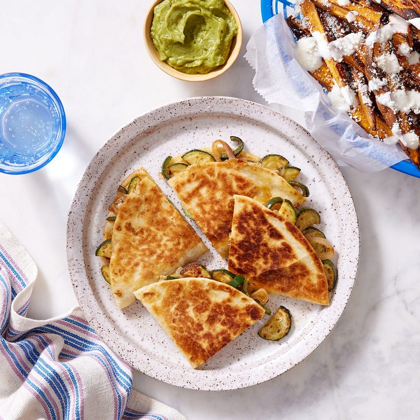 Vegetable Quesadillas with Roasted Sweet Potatoes & Lime Sour Cream