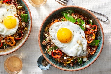Quinoa & Spring Vegetable Salad with Fried Eggs & Feta