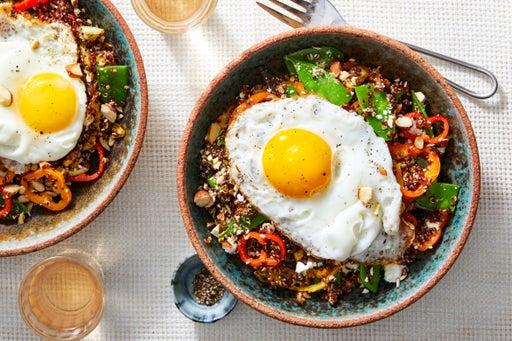 Quinoa & Spring Vegetable Salad with Fried Eggs & Feta